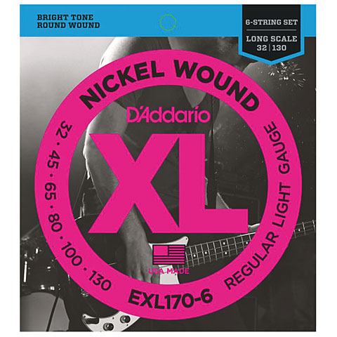 D'Addario EXL170-6 Nickel Wound .032-130